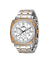 Luxury Ronda Quartz Chronograph Gold Stianless Steel Band White Dial Mens Watch