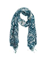 FUGEN Women's Cotton Scarf (FF-2018, Turquoise)