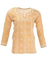 Lucknow Chikan Industry Women's Cotton Straight Kurta (LCI-405, Brown, S)