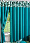 Eyelet With Lining Turquoise Curtain