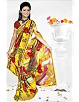 A G Lifestyle Yellow Faux Georgette Saree with Unstitched Blouse RRS1004