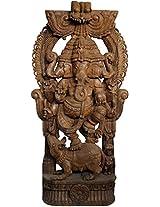 Tri-Mukha Ganesha Dancing on Rat - South Indian Temple Wood Carving