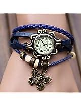 Leather Bracelet - Watch For Girls -- Multilayer Designer Vintage Classic watch (BLUE)