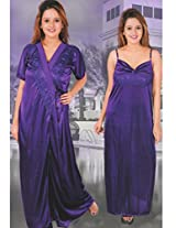 Indiatrendzs Bridal Nighty Sexy Baby Doll Purple 2pc Set Silk Satin Lingerie