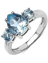 2.84CTW Genuine Blue Topaz .925 Sterling Silver 3 Stone Ring