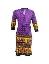 Handicraft Kottage Women's Cotton Purple Long Sleeve Kurti