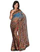 Sehgall Sarees Indian Professional Shaded Embroidery Net Saree