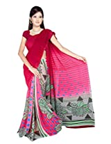 Sonal Trendz Red & Pink Color Georgette Saree with Blouse