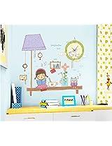 UberLyfe Little Girl with Cute Kitty Wall clock cum Wall Sticker