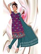 Kala Sanskruti Women Cotton Satin Bandhani Purple Dress Material