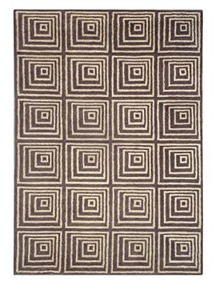 Geo Ziggurat Rug, Brown, 5' x 8'