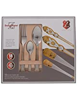 SWISS HOME 18/8 Steel Mixed Cutlery Set, 18-Piece, Golden