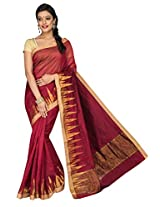 Korni Cotton Silk Banarasi Saree DS-1528- Maroon KR0461