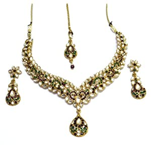 I Jewels Ethnic Collection Gold Plated Brass Aloy Elegantly Hand Crafted Kundan Sets for Women (K7003PuG)