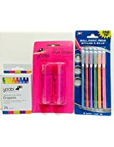 Office, Easter Basket, School Supplies, Home School; Glue Sticks, Crayons, Colored Ballpoint Pens, Striped; Stylish Back To School Or Homeschool
