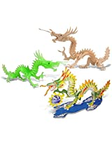 Puzzled Dragon, Dragon Glow in the Dark and Dragon Pre-Colored Wooden 3D Puzzle Construction Kit