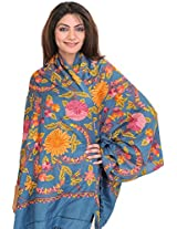 Exotic India Stole from Kashmir with Hand Embroidered Flowers - Color Saxony BlueColor Free Size