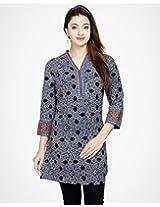 Cotton Ajrak Printed Tunic-S-Indigo