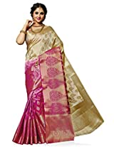 Meghdoot Artificial Silk Saree (SIYAA_MT1274_TASSARxRANI Woven Beige and Pink Colour Sari)