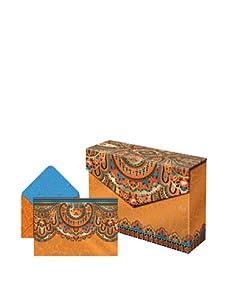 Punch Studio Set of 3 Flip Top Box Notes (Tangerine Paisley)
