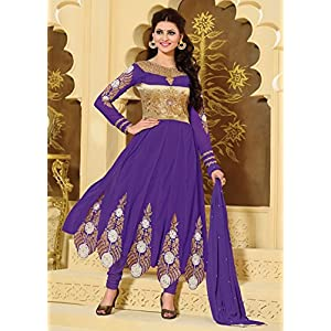 Urvashi Rautela Purple Designer Anarkali Suit