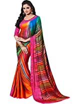 Pagli pink with multicolour digital printed jakard saree.