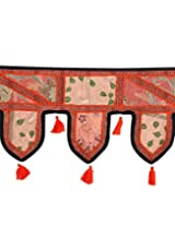 Cultural Cotton Toran Peach Patch Work Floral Door Hanging By Rajrang