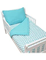 American Baby Company 100% Cotton Percale 4-piece Toddler Beding Set,  Aqua Sea Wave
