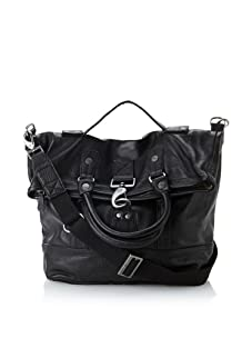 i.am Men's Leather Fold-Over Tote (Black)