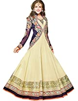 Exotic India Sea-Mist and Eclipse-Blue Wedding Long Anarkali Suit wi - Off-WhiteGarment Size Medium