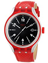 Swatch YES4001 Go Jump Black Analog Date Dial Red Leather Band Men Watch NEW