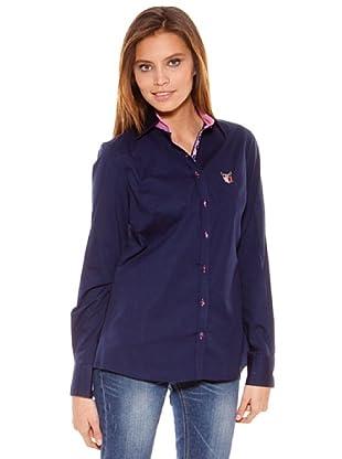 Polo Club Camisa Manga Larga Señora Entallada Lisa (Azul Marino)