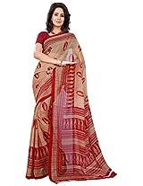 Silk Bazar Women's Faux Georgette Saree with Blouse Piece (Beige & Red)