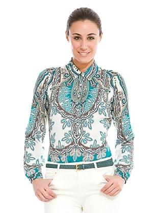 Cortefiel Camisa Estampada Pañuelo Cenefa (Azul / Blanco)