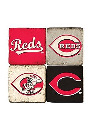 Studio Vertu Set of 4 Cincinnati Reds Logoed Tumbled Marble Coasters with Stand