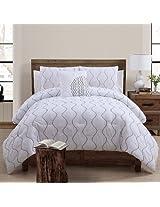 VCNY Nora 4-Piece Comforter Set, King, White