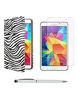 VG Zebra Print Mary Portfolio Multi Purpose Book Style Slim Flip Cover Case for Samsung Galaxy Tab4 T330/T331 8.0 (White) + Ball Pen Stylus + Matte Screen