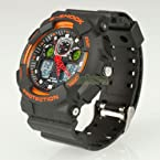 Men AK1055 Waterproof Sport Diving Digital LED Quartz Wrist Watch Orange Black
