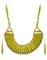 Kashish Designz Gold & Green Paper Choker Necklace Set for Women (KD086)