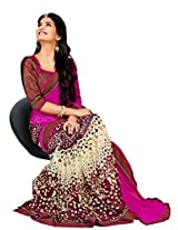 Riti Riwaz Pink & Off White Georgette Lace Border Casual Saree with Unstitched Blouse SDG5014B