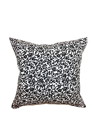 The Pillow Collection Vappi Floral Pillow, Black/White