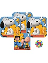 Peanuts Party Supplies For 16 16 Peanuts Dessert Plates With Snoopy And Woodstock (7 Inch), 16 Peanuts Napkins (5 Inch) And A Birthday Sticker (Bundle Of 3 Different Items), Total 33 Pieces