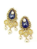 Orne Jewels 925 Sterling Silver Gold Plated Lapis Lazuli Ethnic Earrings with Pearls