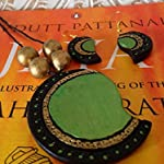 Metallic green and gold Paisley pendant chain with earrings