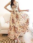 Rc Butterflies Print V Neck Maxi Dress RCMD123006 Orange