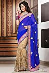 Faux Georgette and Net Designer Saree in Blue and Beige Colour 8316