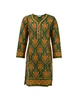 Biba Women Cotton Phulkari Kurta (Aj0003 _Green _Small)