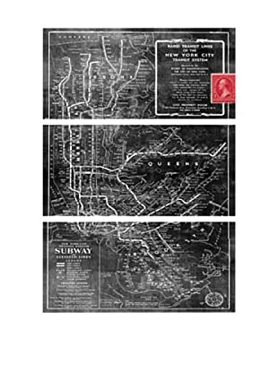 Oliver Gal NYC Subway 1958 Overdyed Map Triptych Canvas Art