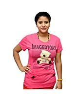 Odishabazaar Women's Cotton Imagedtoay Print Pink T-shirt S
