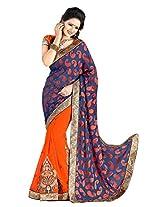 Khushali Presents Multi Embroidered And Embellished Georgette Skirt And Jacquard Pallu Half & Half Sari(Orange,Dark Blue)